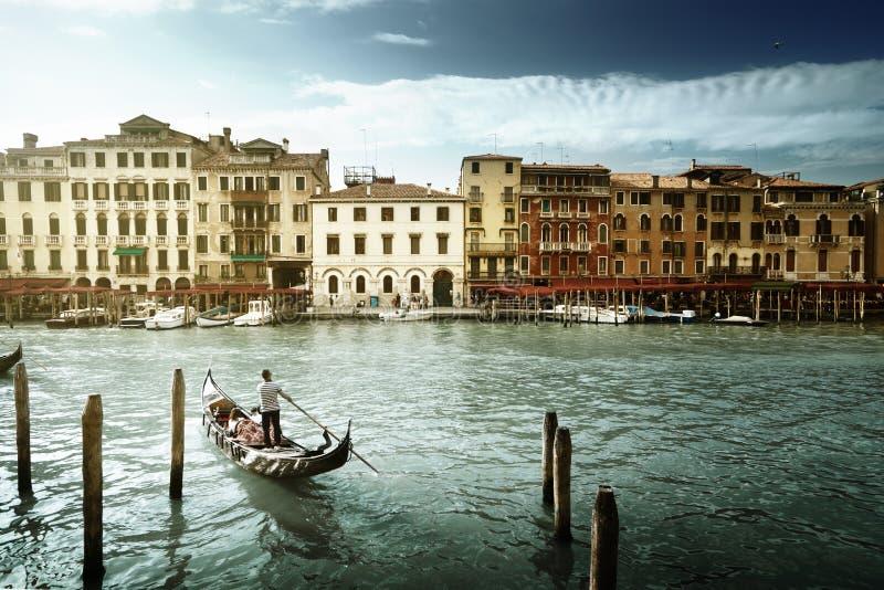 Grand Canal i solig morgon, Venedig, Italien arkivbilder