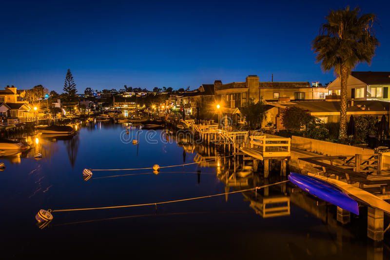 The Grand Canal at night, on Balboa Island, in Newport Beach. California stock images
