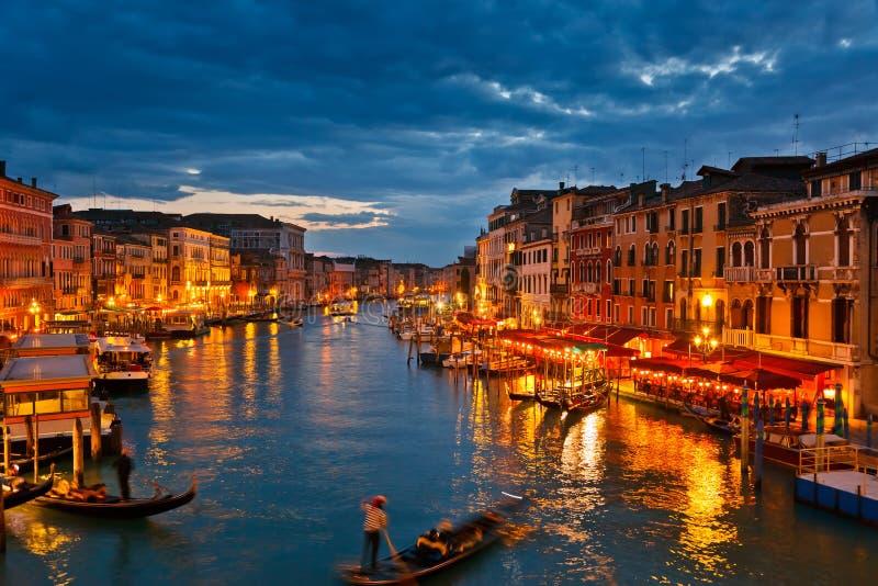 Grand Canal at night, Venice. Italy royalty free stock photos