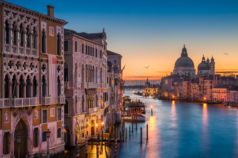 Grand Canal at night, Venice. Grand Canal at night with Basilica Santa Maria della Salute, Venice, Italy royalty free stock photos