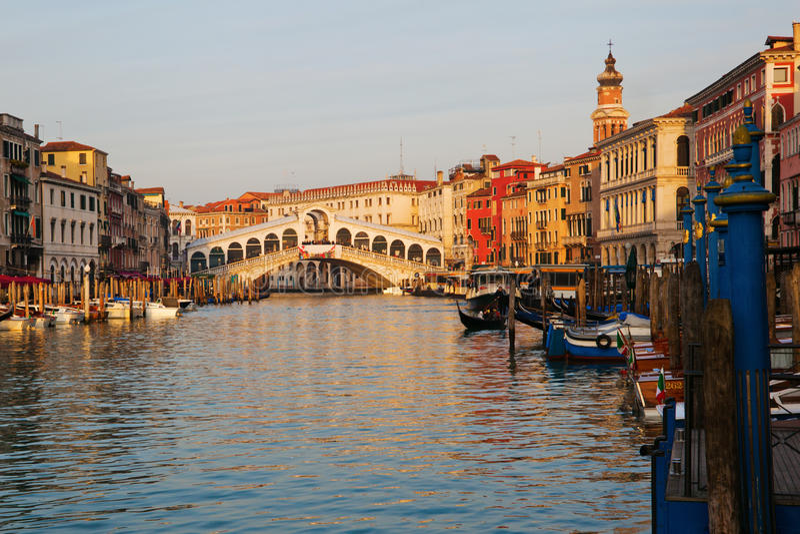 Grand Canal With Rialto Bridge Royalty Free Stock Photo