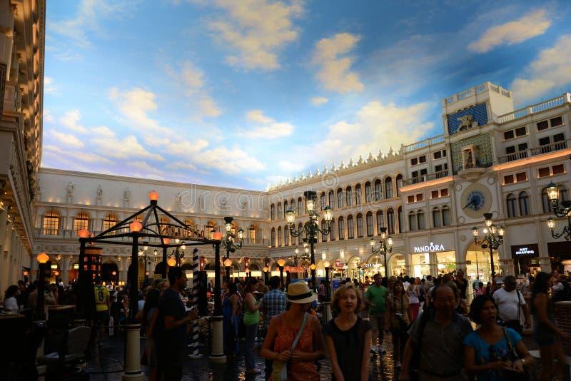 Grand Canal Shoppes på det Venetian hotellet Las Vegas royaltyfri bild