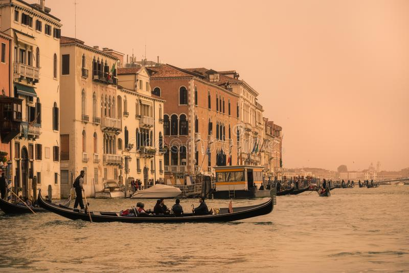 Grand Canal sikt från Venedig, Italien arkivfoton