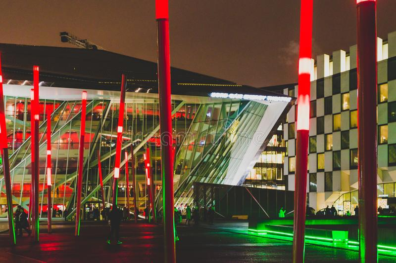 Grand Canal Square by night in the renovated Docklands area. DUBLIN, IRELAND - December 20th, 2017: Grand Canal Square by night in the renovated Docklands area royalty free stock image