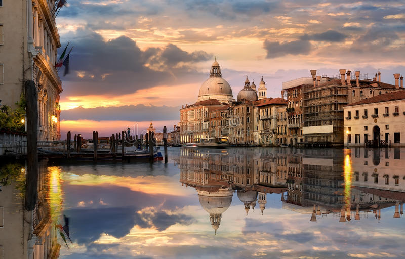 Grand Canal at sunset. Grand Canal in Venice at the sunset royalty free stock images