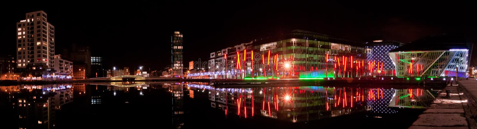 Grand Canal Theatre square panorama. Night panorama of the Grand Canal square Dublin docklands ireland. nightshot of the new theatre of Dublin Grand Canal royalty free stock photography