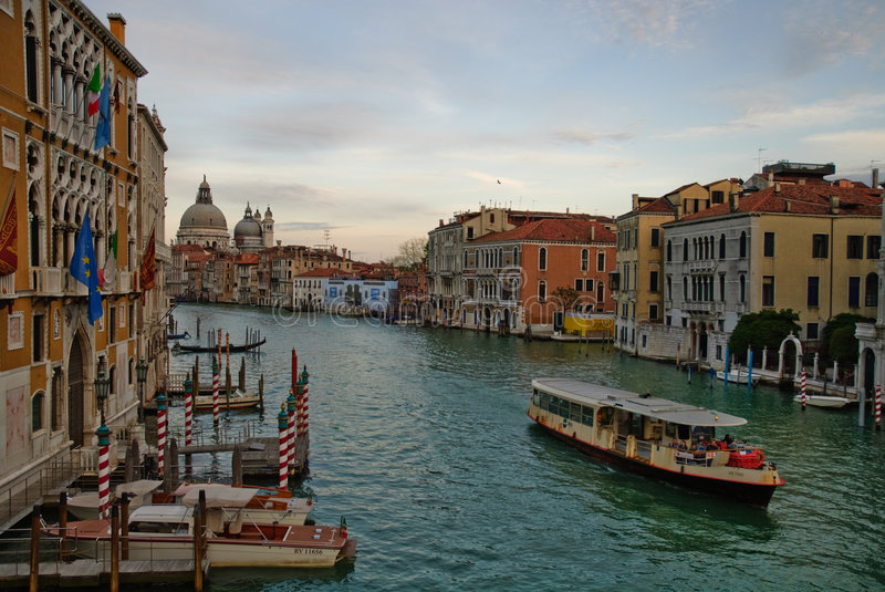 Grand Canal Venice. Scenic view of boat travelling on Grand Canal, Venice, Veneto region, Italy stock photography