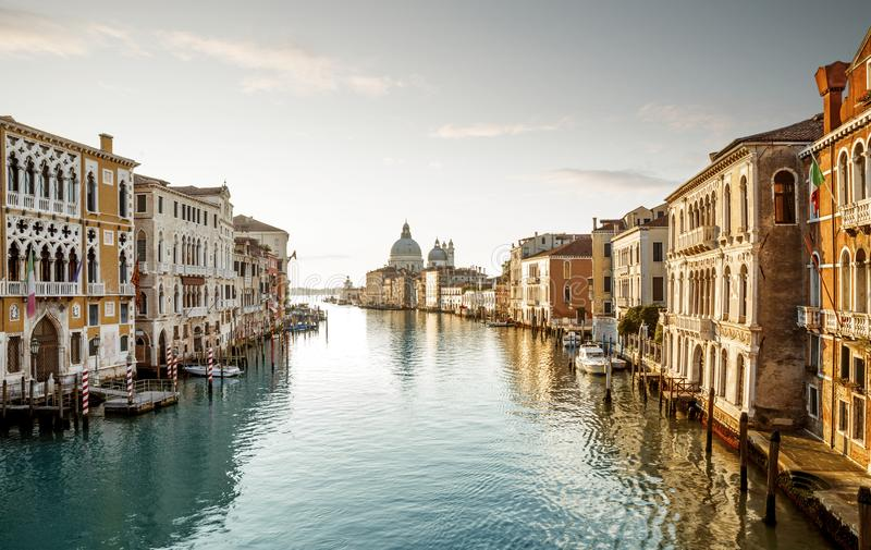 Grand Canal in Venice, Italy. Panorama of Grand Canal in Venice, Italy stock photos