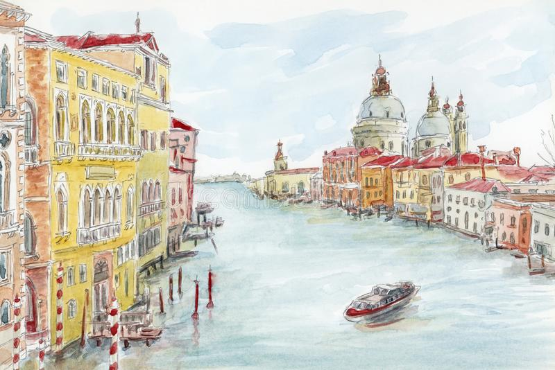 The Grand Canal. Venice, Italy. Pencil and watercolor on paper stock illustration