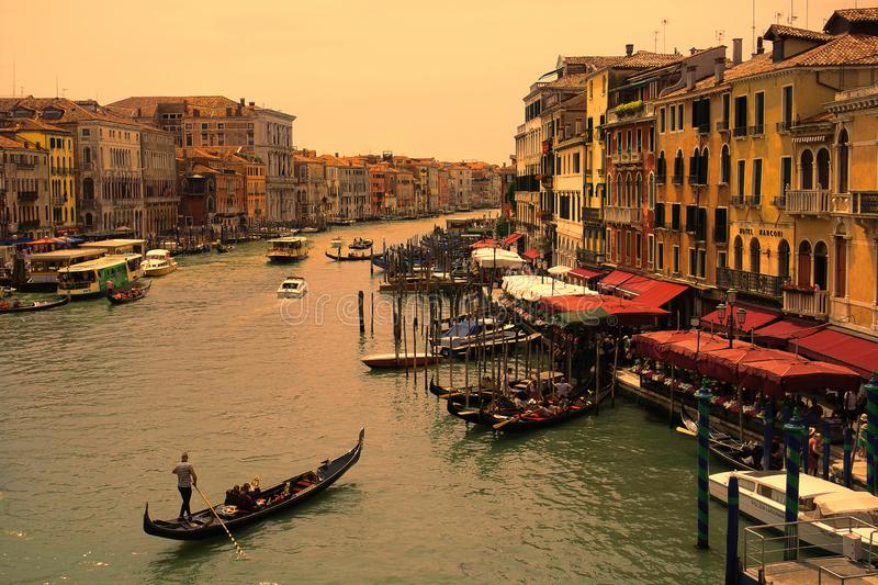 Grand Canal before sunset. The Grand Canal in Venice, Italy, before sunset on 10th June 2019 stock photography