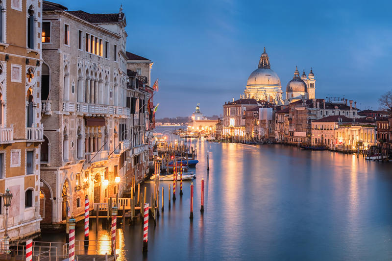 The Grand Canal in Venice at night. Night view to Ponte dell`Accademia cathedral royalty free stock photos