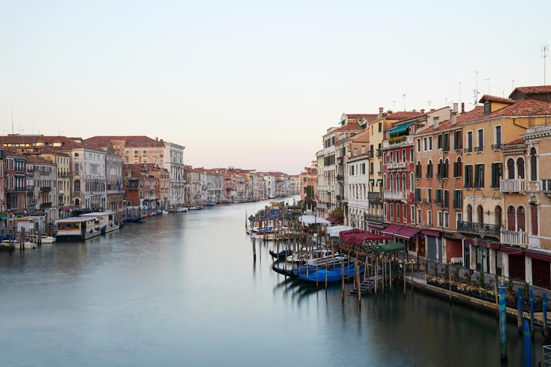 Grand Canal in Venice, nobody in the early morning in Italy. Grand Canal in Venice, nobody in the early morning in summer in Italy stock photos