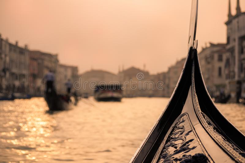 Grand Canal View from gondola - Venice , Italy royalty free stock images