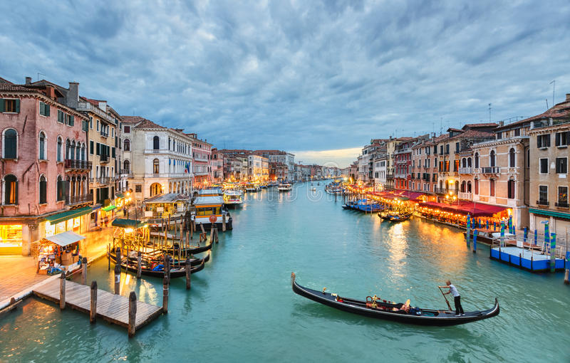 Grand Canal view at night, Venice stock photos