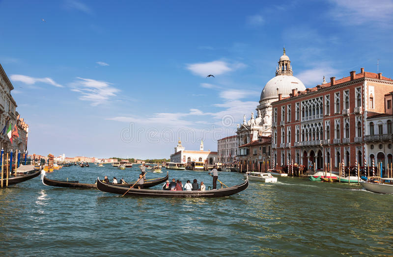 The Grand canal with views of the Cathedral Santa Maria della Salute, Venice royalty free stock images