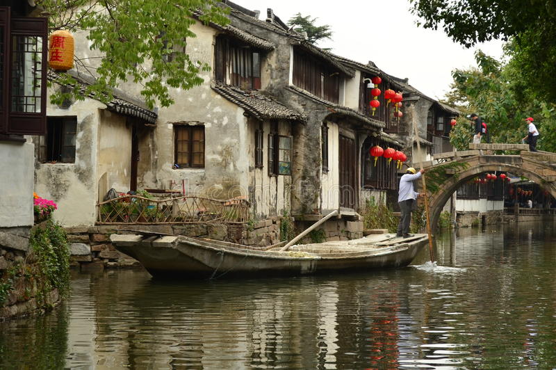 Boatman on Grand Canal at Zhouzhuang, China royalty free stock photography