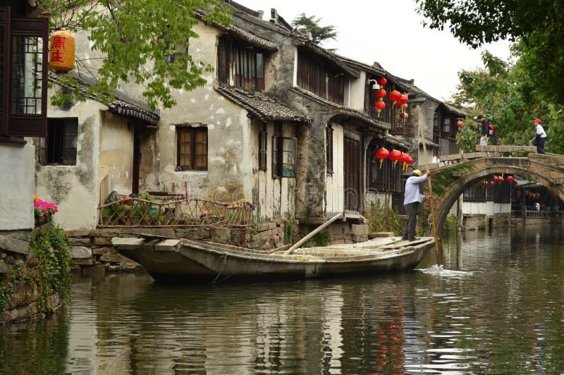 Grand Canal a Zhouzhuang, Cina fotografia stock libera da diritti