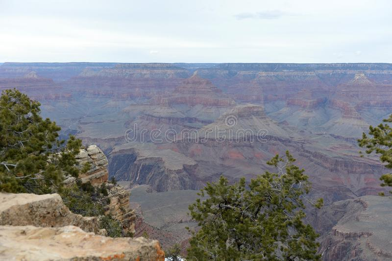 Grand Canyon National Park horizontal view with cliffs royalty free stock photography