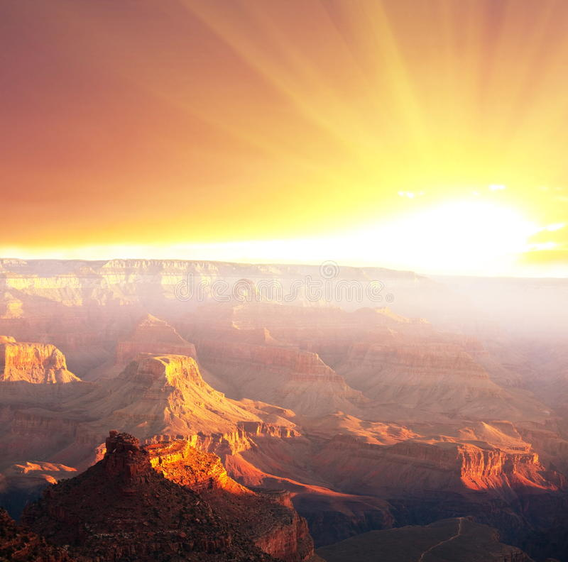 Grand Canyon. On the sunset royalty free stock photos