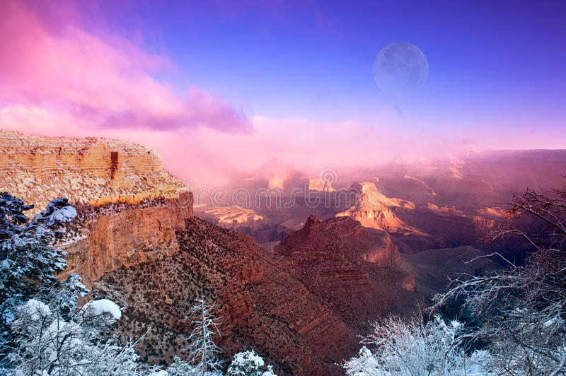 Grand Canyon. A dramatic winter image of the Grand Canyon shot at the Bright Angel Village overlook at the South Rim in Arizona during December royalty free stock images