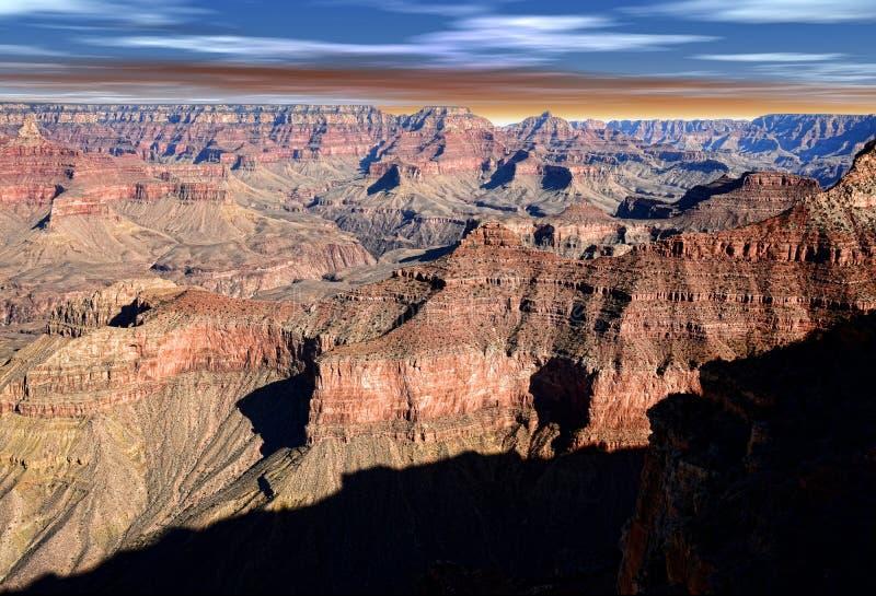 Grand Canyon Arizona con il cielo bianco e rosso blu immagine stock