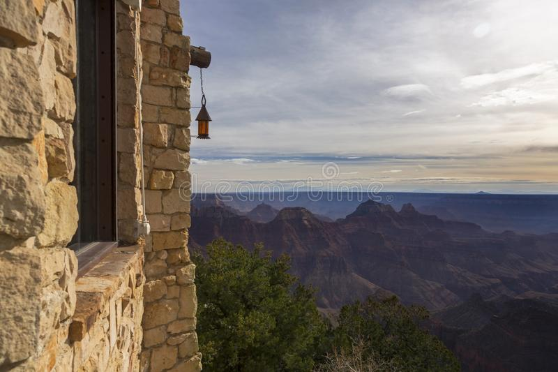 Grand Canyon Arizona North Rim Scenic Landscape View from Tourist Lodge Building royalty free stock photo