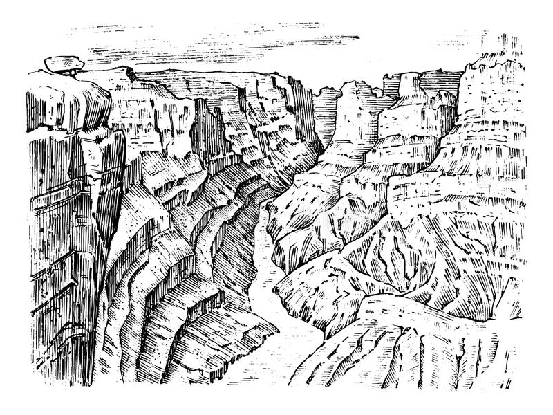 Grand Canyon in Arizona, United States. Graphic monochrome landscape. Engraved hand drawn old sketch. Mountain peaks. With forest. Vector illustration for a royalty free illustration