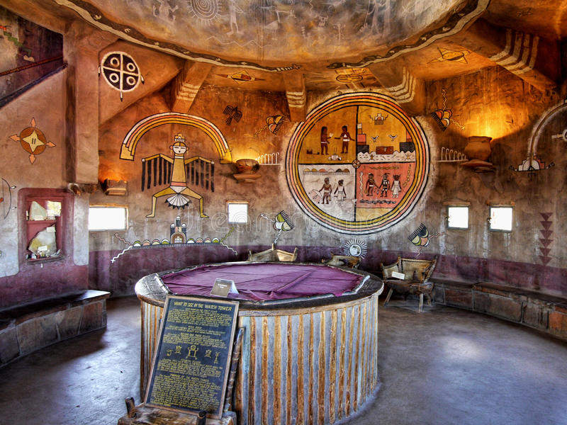 GRAND CANYON, ARIZONA - The Watch Tower Interior. At Grand Canyon National Park on May 14, 2016 in Arizona,USA. The interior walls of the tower feature murals stock image