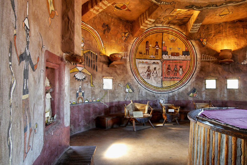 GRAND CANYON, ARIZONA - The Watch Tower Interior. At Grand Canyon National Park on May 14, 2016 in Arizona,USA. The interior walls of the tower feature murals royalty free stock images