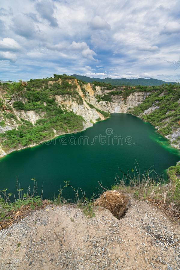 Grand Canyon of Chonburi -Abandoned sand mining. A popular photo site, this tree-ringed former quarry features a reservoir at its. Bottom royalty free stock photos