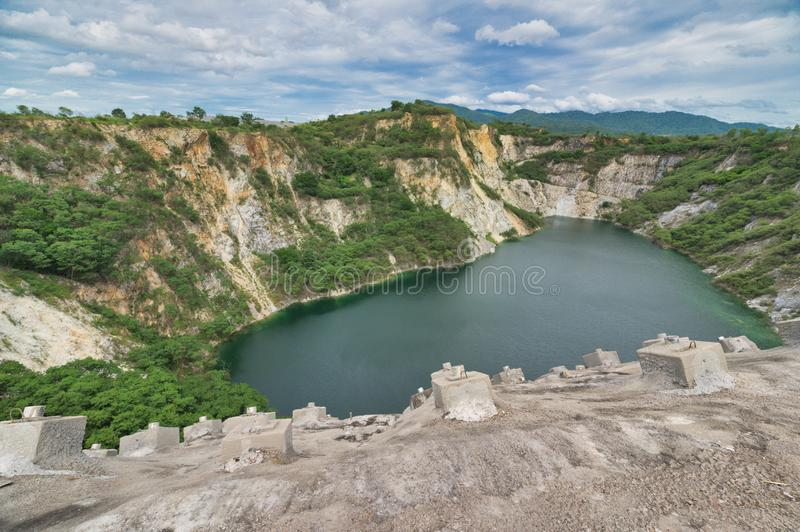 Grand Canyon of Chonburi -Abandoned sand mining. A popular photo site, this tree-ringed former quarry features a reservoir at its. Bottom stock images