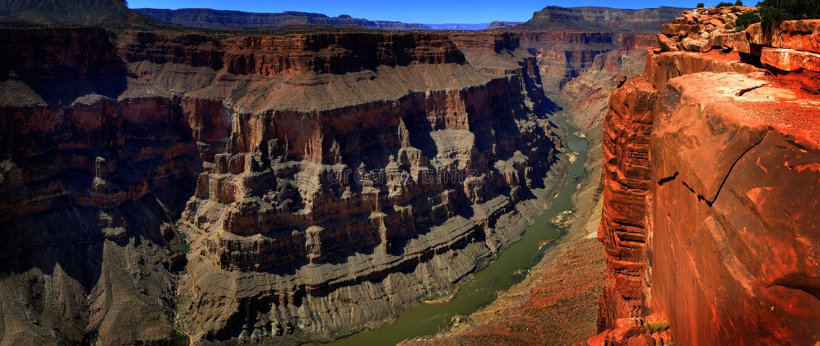 Grand Canyon with Colorado River Gorge Landmark stock image