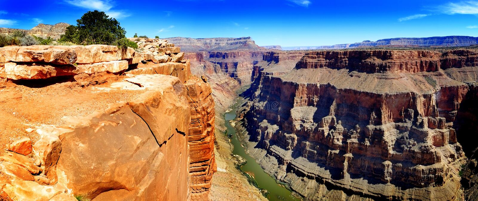 Grand Canyon with Colorado River Gorge Landmark stock photography