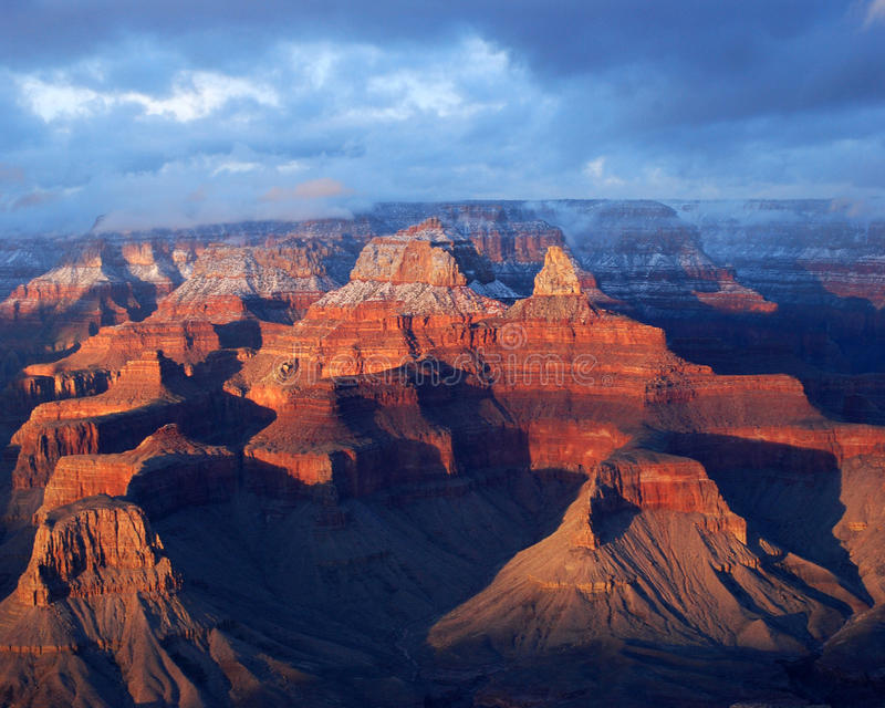 Grand Canyon. Colors change as the sun begins to set over the Grand Canyon stock photography
