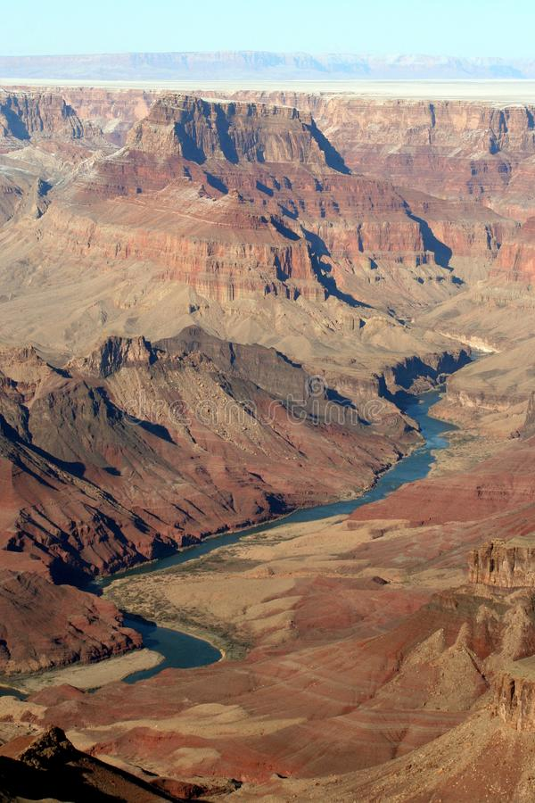 Grand Canyon at Desert View Point, Colorado river on the floor of the Canyon stock image
