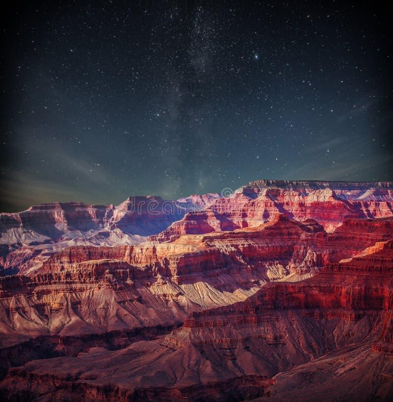 Grand Canyon en la noche imagen de archivo libre de regalías