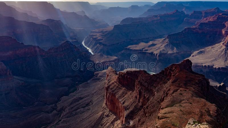 Grand Canyon guiding lines and sunshine royalty free stock images
