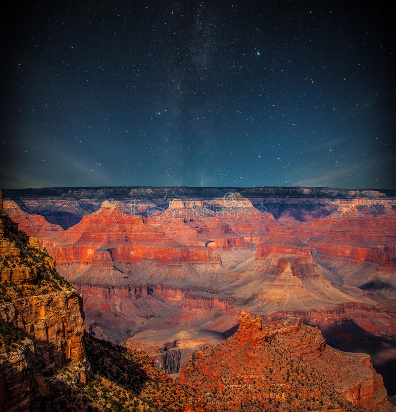 Grand Canyon la nuit images libres de droits