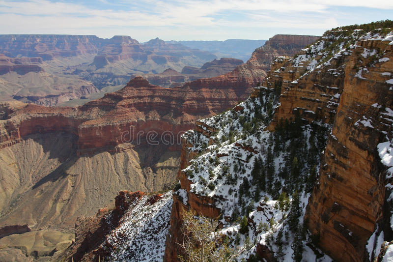 Grand Canyon med Snow arkivfoton