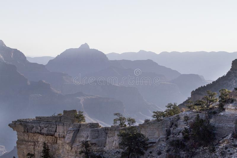 Grand Canyon with morning fog royalty free stock photography