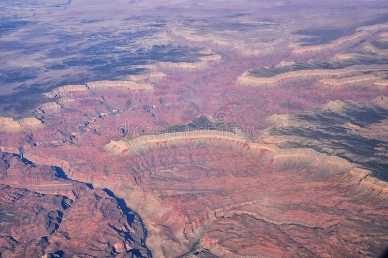 Grand Canyon National Park in Arizona, aerial view from airplane, UNESCO World Heritage Centre Geological history site. In the Uni stock photos