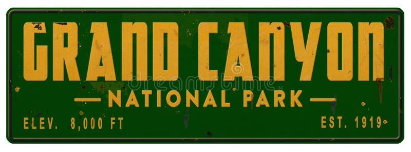 Grand Canyon National Park Sign Grunge Metal Vintage stock photo