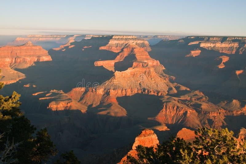 Grand Canyon nationalpark på gryning arkivbild