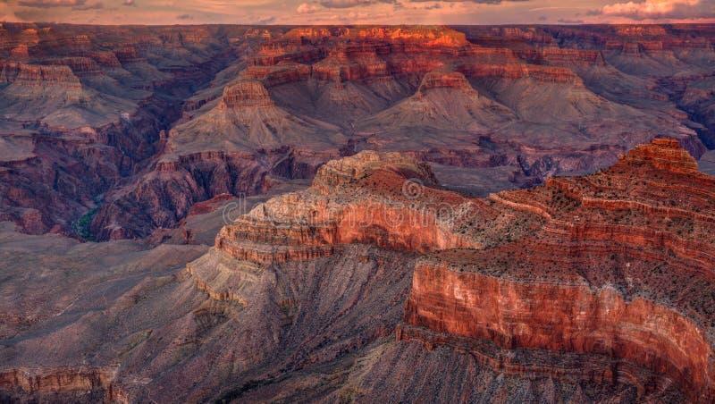 Grand Canyon nationalpark, solnedgång, Arizona royaltyfria foton