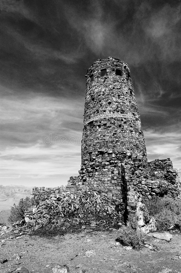 Free Grand Canyon Old Desert View Watchtower BnW Royalty Free Stock Photos - 7307798