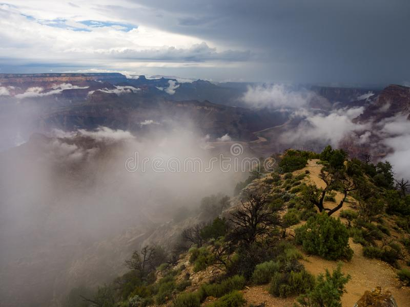 Grand Canyon overziet, Canion in de Wolken royalty-vrije stock afbeelding