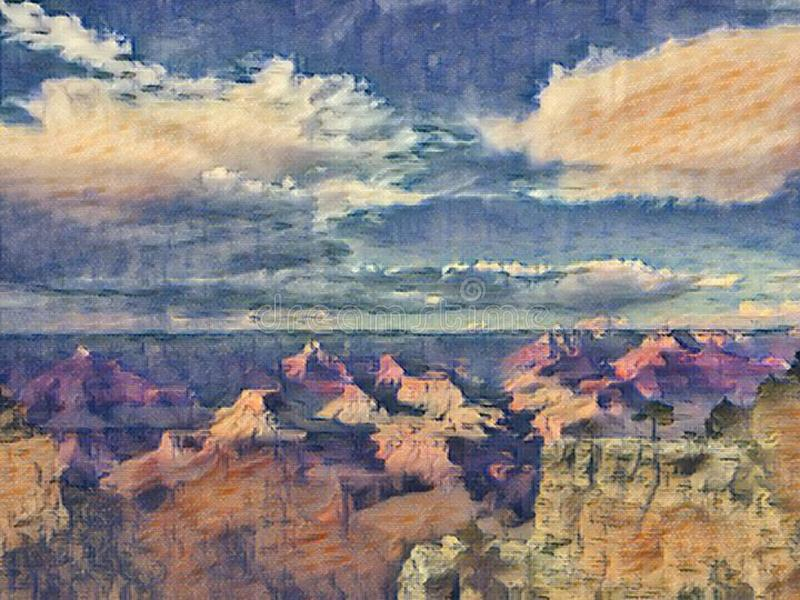 Grand Canyon painting stock photo