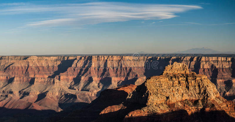 Grand Canyon Panorama. Colorful rock layers of Grand Canyon National Park in Arizona on clear summer day at sunset stock image