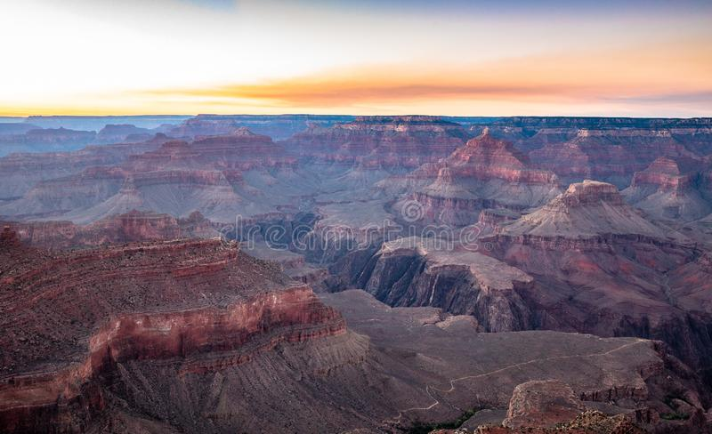 Grand Canyon a penombra, Arizona, U.S.A. fotografia stock