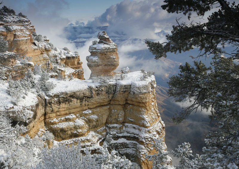 Grand Canyon Snow stock photo
